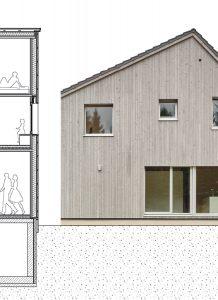 Architekturplan und Außenfassade eines Doppelwohnhauses