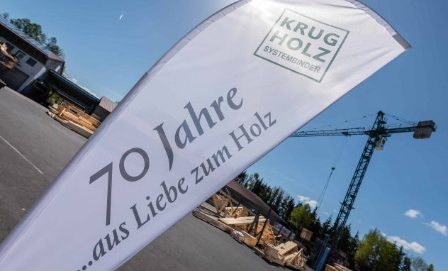 Fahne; 70 Jahre; Krug Holzsystembinder GmbH