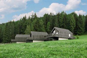 Blick auf drei Chalets am Waldrand in Südtirol