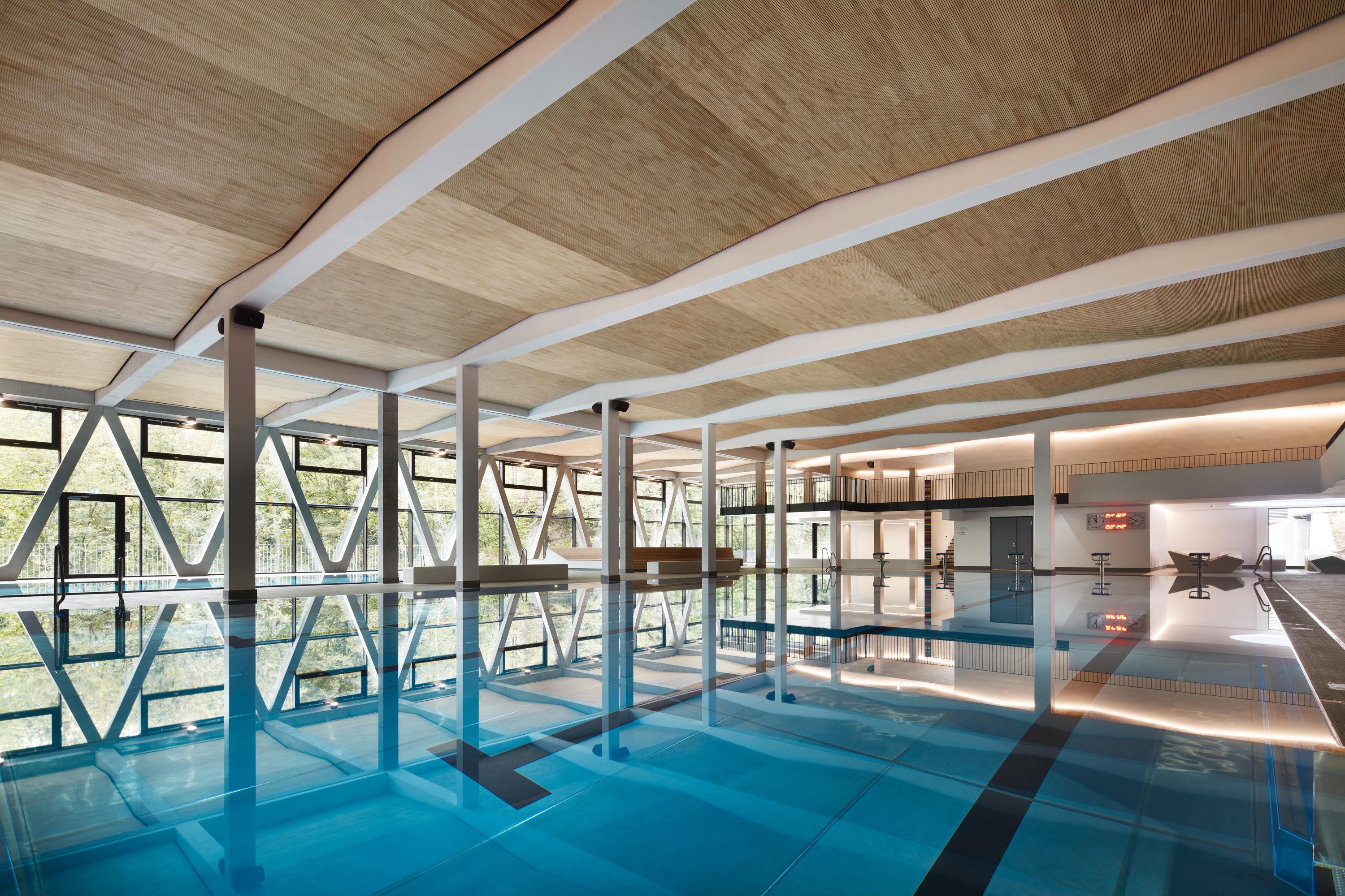 Schwimmbad mit Holzdecke