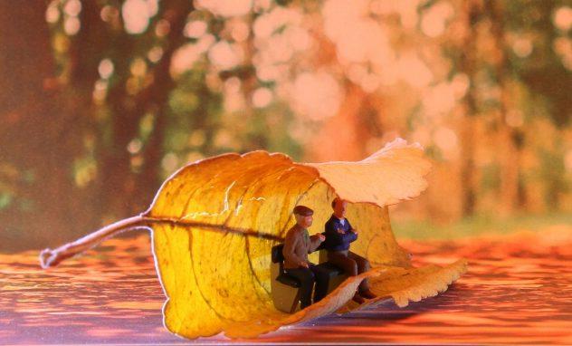Senioren von einem Herbstblatt eingewickelt