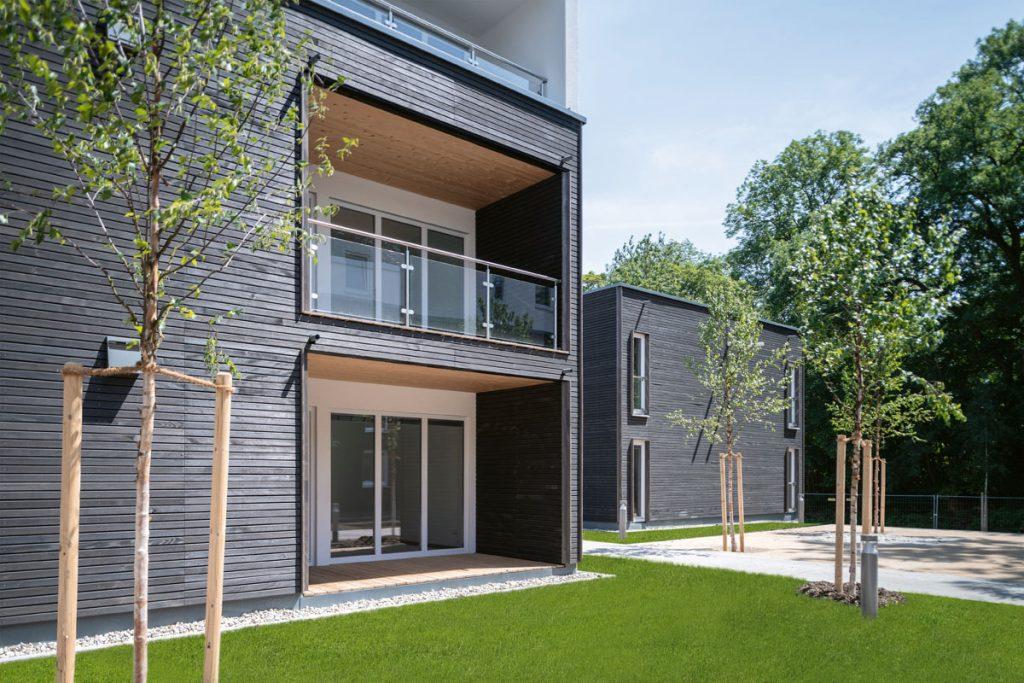 Holzrahmenbauweise eines modernen Hauses