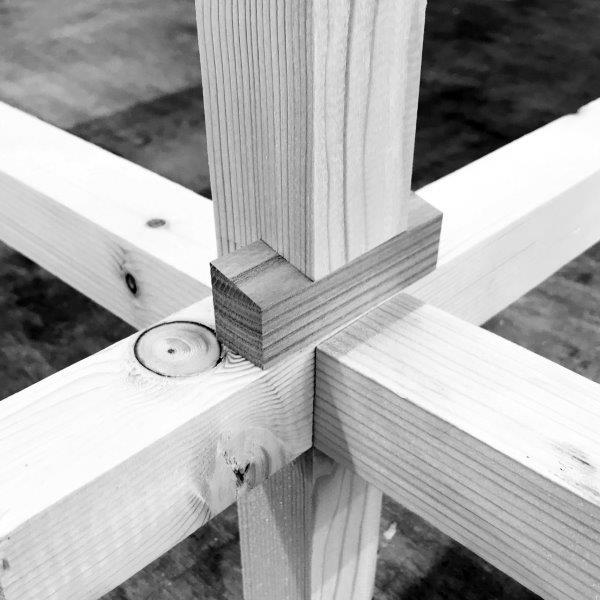 Nahansicht Knotenpunkt von der Gitterkonstruktion