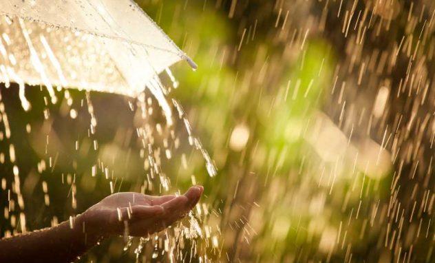 Hand unterm Regenschirm