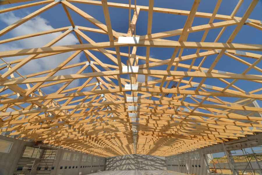 Holzdach von unten