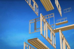 Schwebende Holzelemente